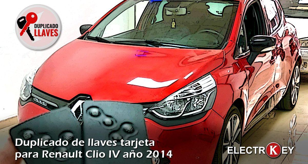 Duplicado de llaves tarjeta para Renault Clio IV año 2014 🔑🔑