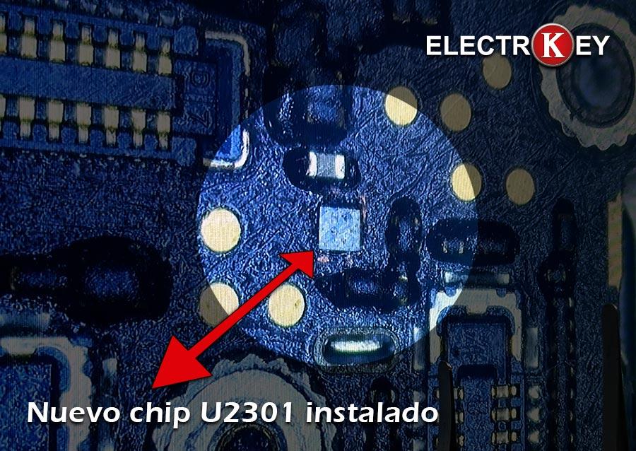 Nuevo chip IC U2301 instalado en Electrokey